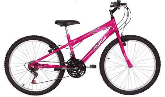 Bicicleta Infantil Status Aro 24 18v Belíssima Rosa