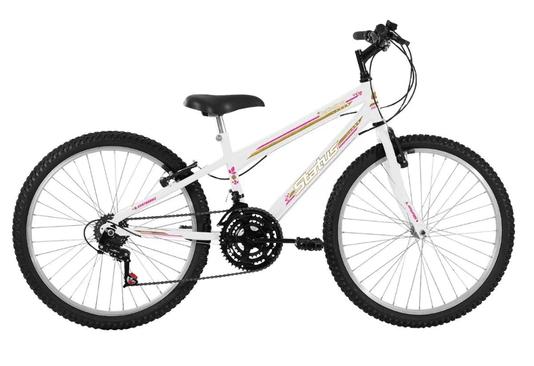 Bicicleta Infantil Status Aro 24 18v Belíssima Branca Aro 24