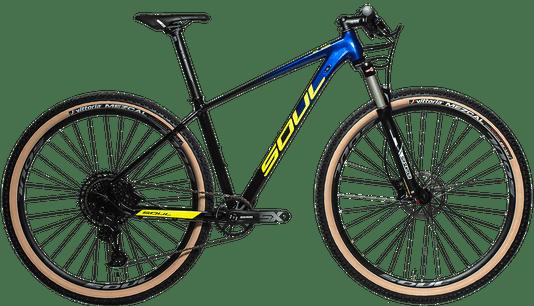 Bicicleta Sl329 Sx Eagle 12V -Susp Brave - Pedivela Power Spline- Tam L Degrade Azul Para Gothic Blue/Amarelo