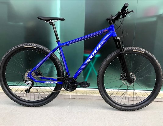 Bicicleta Soul SL129 Alumínio Aro 29 Freios Shimano Hidráulicos - Azul/Laranja