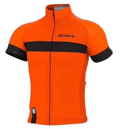 Camisa de Ciclismo ERT Nova Tour Strip - Laranja/Preto