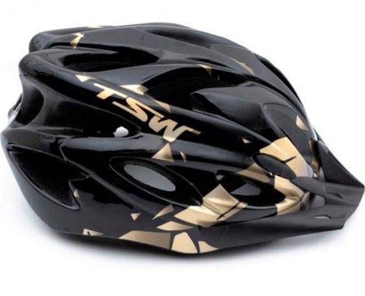 Capacete de Ciclismo TSW Raptor II com Led - Preto/Cinza/Dourado