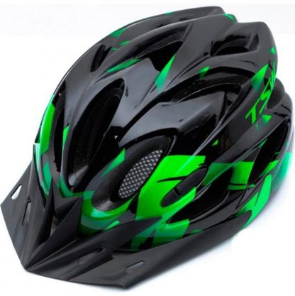 Capacete de Ciclismo TSW Raptor II com Led - Preto/Cinza/Verde M (54cm-58cm)