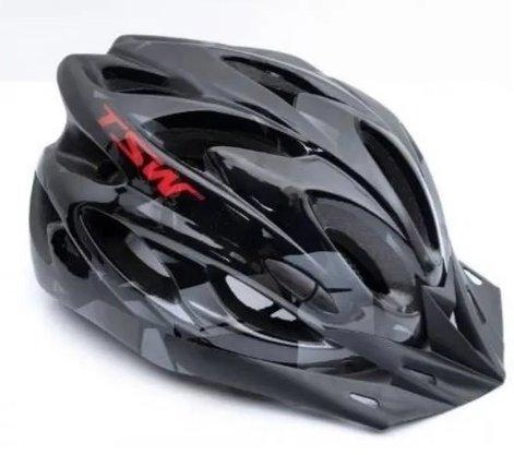 Capacete de Ciclismo TSW Raptor II com Led - Preto/Cinza/Vermelho
