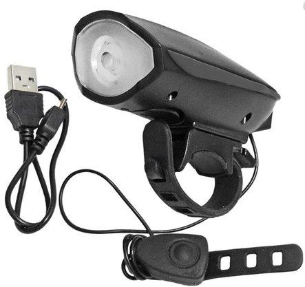 Lanterna para Bike com Buzina Recarregável USB