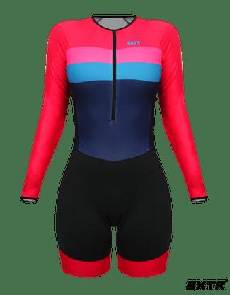 Macaquinho Ciclismo Feminino Expert Sport Xtreme Manga Longa Livade Rosa
