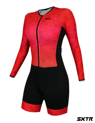 Macaquinho Ciclismo Feminino Manga Longa Comfort Sport Xtreme Scarlet