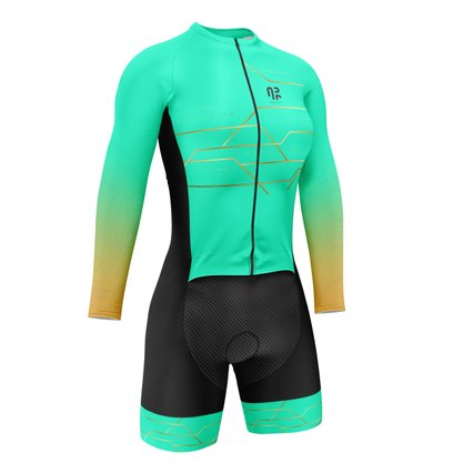 Macaquinho Ciclismo Manga Longa Água Rara Sports Wear Verde