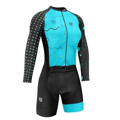 Macaquinho Manga Longa Ciclismo Água Rara Sports Wear Tiffany M