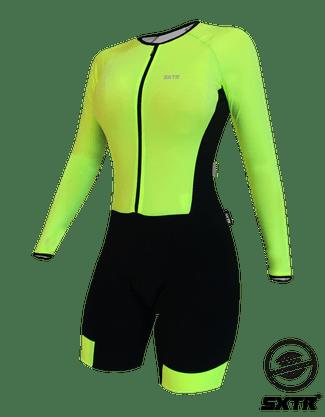 Macaquinho De Ciclismo Manga Longa Sportxtreme Confort Solid Limão Neon