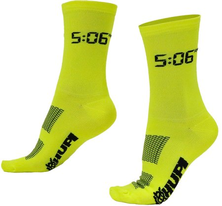 Meia De Ciclismo Hupi 5:06 Am Amarelo Neon
