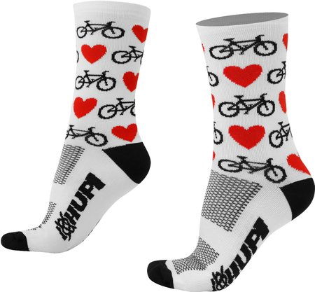 Meia Hupi Love Bike Branco Lt - Para Pés Menores