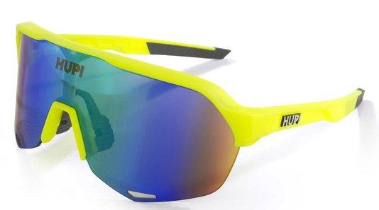 Óculos de Ciclismo HUPI Huez Amarelo Neon/Cinza - Lente Azul Espelhado