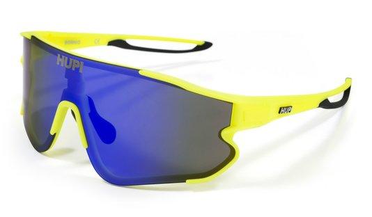 Óculos Hupi Bornio Amarelo Neon/Preto - Lente Azul Espelhada